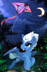 Size: 1550x2375 | Tagged: safe, artist:yakovlev-vad, night glider, pegasus, pony, crescent moon, cute, female, glideabetes, kite, mare, moon, night, patreon, patreon reward, scenery, smiling, solo, that pony sure does love the night and gliding, tree