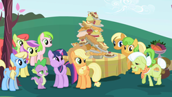 Size: 1280x720 | Tagged: safe, screencap, apple cider (character), apple cobbler, applejack, granny smith, lavender fritter, peachy sweet, perfect pie, red gala, spike, twilight sparkle, dragon, earth pony, pony, unicorn, friendship is magic, apple, apple family member, apple fritter (food), apple pie, aweeg*, background pony, bow, cake, candy apple (food), cupcake, elderly, female, food, hair bow, male, mare, pie, puffy cheeks, table, unicorn twilight