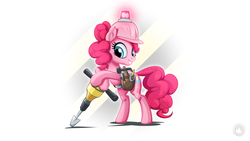 Size: 1920x1080 | Tagged: safe, artist:mysticalpha, pinkie pie, earth pony, pony, school daze, bipedal, bipedal leaning, construction pony, female, hard hat, hat, jackhammer, leaning, simple background, solo, toolbelt, wallpaper, white background