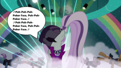 Size: 1280x720 | Tagged: safe, edit, edited screencap, screencap, coloratura, limelight, smooth move, spectrum shades, turbo bass, pony, season 5, the mane attraction, backup dancers, big clothes, big hair, countess coloratura, dialogue, false eyelashes, fog, lady gaga, lights, music notes, poker face (song), rainbow, singing, song reference, speech bubble, stage, the spectacle, veil