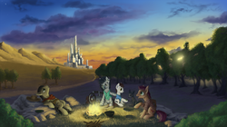 Size: 1920x1074 | Tagged: safe, artist:1jaz, earth pony, pony, zebra, bandana, belt, campfire, city, clothes, colt, eddie dean, forest, frown, grass, hat, jake the dog, lidded eyes, looking up, male, open mouth, oy, ponified, raised hoof, roland deschain, scenery, shirt, sitting, smiling, stallion, sunset, susannah dean, the dark tower, tree, wheelchair