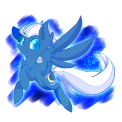 Size: 800x800 | Tagged: abstract background, artist:jisuppe, chest fluff, colored pupils, cute, ear fluff, female, fluffy, flying, freckles, glideabetes, looking at you, mare, night glider, pegasus, pony, safe, shoulder fluff, smiling, solo, spread wings, wing fluff, wings