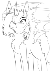 Size: 2480x3508 | Tagged: artist:php70, bat wings, chest fluff, fluffy, half bat pony, half changeling, hybrid, lineart, oc, oc only, ponysona, safe, solo