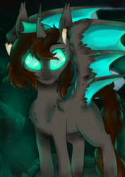 Size: 2480x3508 | Tagged: artist:php70, bat pony, bat pony oc, changeling, changeling oc, chest fluff, glowing eyes, half changeling, looking at you, oc, oc only, safe, solo