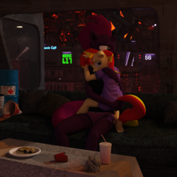 Size: 2000x2000 | Tagged: safe, artist:tahublade7, sunset shimmer, tempest shadow, anthro, plantigrade anthro, unicorn, 3d, adopted offspring, baggy shirt, barefoot, broken horn, bucket, butt touch, city, clothes, couch, cuddling, cute, drink, feet, female, filly, food, hand on butt, hug, no pants, panties, plate, red underwear, sad, sandwich, shimmerbetes, shirt, snuggling, t-shirt, tanktop, trash, underwear, younger