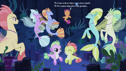 Size: 1280x720   Tagged: safe, edit, edited screencap, screencap, aestuarium, cotton shores, papaya bay, salmon chiton, scootaloo, wind storm, seapony (g4), surf and/or turf, baby seaponies (g4), background sea pony, bongos, cute, cutealoo, dancing, harry potter, harry potter and the goblet of fire, lyrics, musical instrument, seaponified, seapony scootaloo, seaquestria, seaweed, song reference, species swap, text