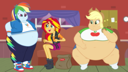 Size: 1920x1080 | Tagged: amplejack, applefat, applejack, appleshimmer, artist:neongothic, bbw, belly, belly button, big belly, burger, chubby cheeks, double chin, equestria girls, equestria girls series, fanfic:a 1000 pound cowgirl?!? i don't think so!, fast food, fat, fat fetish, female, fetish, food, hamburger, huge belly, illustration, junk food, lesbian, morbidly obese, obese, rainblob dash, rainbow dash, safe, shipping, show accurate, ssbbw, story included, sunsetdash, sunset shimmer