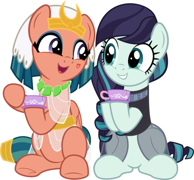 Size: 5769x5361 | Tagged: artist:jhayarr23, clothes, coloratura, cup, cute, duo, duo female, earth pony, eye contact, eyeliner, eyeshadow, featured image, female, friendshipping, glowpaz, hoofsies, hope, legends of magic, looking at each other, makeup, mare, open mouth, pegasus, pony, rara, rarabetes, safe, saucer, see-through, show accurate, simple background, sitting, smiling, somnambetes, somnambula, teacup, transparent background, vector
