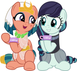 Size: 5769x5361   Tagged: safe, artist:jhayarr23, coloratura, somnambula, earth pony, pegasus, pony, legends of magic, absurd resolution, clothes, cup, cute, duo, duo female, eye contact, eyeliner, eyeshadow, featured image, female, friendshipping, glowpaz, hoofsies, hope, looking at each other, makeup, mare, open mouth, rara, rarabetes, saucer, see-through, show accurate, simple background, sitting, smiling, somnambetes, sweet dreams fuel, teacup, transparent background, vector