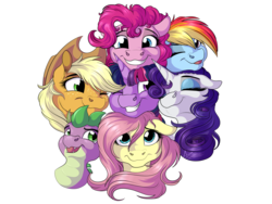 Size: 4000x3000 | Tagged: safe, artist:lupiarts, applejack, fluttershy, pinkie pie, rainbow dash, rarity, spike, twilight sparkle, dragon, pony, absurd resolution, cuddling, cute, eyes closed, female, looking at you, male, mane seven, mane six, mare, one eye closed, open mouth, simple background, smiling, transparent background