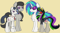 Size: 2756x1532 | Tagged: safe, artist:rosefang16, dj pon-3, octavia melody, vinyl scratch, oc, oc:nuance harmoney, oc:sawtooth vibe, earth pony, pony, unicorn, icey-verse, bowtie, clothes, cuffs (clothes), family, female, glasses, headphones, jacket, lesbian, magical lesbian spawn, mare, next generation, offspring, parent:octavia melody, parent:vinyl scratch, parents:scratchtavia, scratchtavia, shipping, simple background, sunglasses, tan background, vinyl's glasses