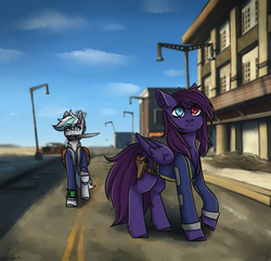Size: 1350x1300   Tagged: safe, artist:serodart, oc, oc:pestyskillengton, earth pony, pegasus, pony, fallout equestria, city, clothes, fallout, fallout 4, fanfic, fanfic art, female, heterochromia, hooves, knife, male, mare, mouth hold, pipboy, pipbuck, request, road, ruined, saddle bag, scenery, sky, stallion, town, vault suit, wasteland, weapon, wings