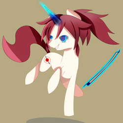 Size: 3500x3500 | Tagged: artist:cocoapossibility, bow (instrument), demon, magic, oc, pony, safe, unicorn, violin bow