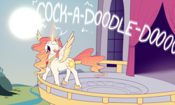Size: 1500x908   Tagged: safe, artist:evehly, princess celestia, alicorn, pony, balcony, behaving like a bird, behaving like a chicken, behaving like a rooster, canterlot castle, colored wings, colored wingtips, crowing, day, derp, faic, female, floppy ears, glowing horn, hoof shoes, magic, majestic as fuck, mare, open mouth, raising the sun, river, roosterlestia, sillestia, silly, silly pony, sky, solo, spread wings, sun, sun work, tongue out, wide eyes, wings