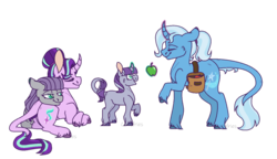 Size: 1024x591 | Tagged: safe, artist:curlyfriesarenice, artist:echabi, maud pie, starlight glimmer, trixie, oc, oc:mystic quarry, classical unicorn, pony, unicorn, apple, cloven hooves, curved horn, family, female, filly, food, glowing horn, leonine tail, lesbian, magic, magical lesbian spawn, magical threesome spawn, mauxie, multiple parents, offspring, parent:maud pie, parent:starlight glimmer, parent:trixie, parents:starmauxie, polyamory, shipping, simple background, starmaud, starmauxie, startrix, telekinesis, transparent background, unshorn fetlocks