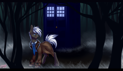 Size: 2930x1700 | Tagged: safe, artist:pinktabico, oc, oc only, pony, bbc, clothes, commission, doctor who, forest, male, open mouth, scenery, tardis