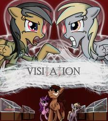 Size: 1000x1119   Tagged: safe, artist:sixes&sevens, derpibooru exclusive, amethyst star, daring do, derpy hooves, dinky hooves, sparkler, angry, argument, bowl, chest fluff, crown, dagger, fanfic, fanfic art, fanfic cover, glowing eyes, goblet, jamie mccrimmon, jewelry, kilt, missing accessory, museum, regalia, scissors, weapon