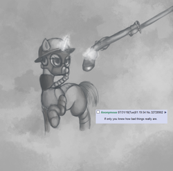 Size: 800x792 | Tagged: 4chan, artist:colochenni, bayonet, clothes, drawthread, gas mask, gun, handgun, helmet, if only you knew how bad things really are, magic, mask, meme, /mlp/, parody, pistol, pony, request, safe, smoke, soldier, text, uniform, walking, weapon, world war i