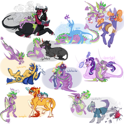 Size: 1500x1500 | Tagged: safe, artist:eqq_scremble, derpibooru exclusive, flash sentry, frazzle rock, king sombra, lord tirek, maud pie, princess flurry heart, spike, star tracker, starlight glimmer, sunburst, trixie, alicorn, centaur, classical unicorn, donkey, dragon, earth pony, pegasus, pony, unicorn, and then spike was bi, bisexual, blaze (coat marking), book, cloven hooves, coat markings, colored wings, colored wingtips, crack shipping, curved horn, female, filly, fire, frazzlespike, gay, gem, glasses, glowing horn, leonine tail, magic, male, mare, maudspike, scroll, shipping, socks (coat marking), sparlight, spike gets all the mares, spike gets all the stallions, spikebra, spikesentry, spiketracker, spirek, spixie, stallion, straight, sunspike, unshorn fetlocks, winged spike