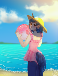 Size: 3467x4512 | Tagged: safe, artist:effervesket, oc, oc only, oc:starlight blossom, satyr, unicorn, beach, beach ball, clothes, cute, female, filly, hat, looking at you, satyrized, solo, swimsuit, tail