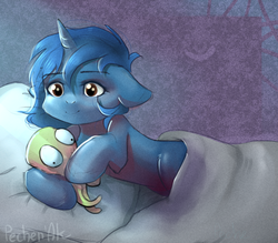 Size: 1144x1000 | Tagged: safe, artist:pechenak, oc, oc:starlight blossom, unicorn, bed, blanket, cute, female, filly, lying on bed, pillow, plushie