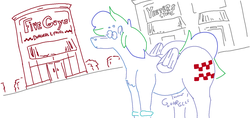 Size: 1351x638 | Tagged: safe, artist:pieburgerhorse, part of a set, oc, oc only, oc:felicity stars, pegasus, pony, beanbrows, chest fluff, eyebrows, female, five guys, hoers, hungry, implied ponies eating meat, lineart, part of a series, solo, stomach noise, this will end in weight gain, weight gain sequence