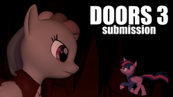 Size: 3413x1920 | Tagged: safe, artist:yanushkoniokrad, artist:yoksaharat, rainbow dash, twilight sparkle, oc, oc only, alicorn, pony, 3d, angry, appearance, clothes, count of monte cristo, count of monte rainbow, door, doors, doors 3, doorstep, duo, edmund dantes, fanfic, fanfic art, female, frown, giant pony, giantess, hell, lesbian, looking at each other, looking at you, looking back, looking round, macro, mondego, monsparkle, panic, panicking, rainbow dantes, run, running, scared, scared to death, shipping, size comparison, size difference, the count of monte cristo, twidash, twilight sparkle (alicorn), underground, underhoof