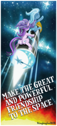 Size: 1024x2221 | Tagged: safe, artist:wangkingfun, starlight glimmer, trixie, pony, unicorn, both cutie marks, cape, caption, clothes, cutie mark, duo, engrish, female, hat, mare, plot, riding, rocket, space background, toy interpretation, trixie's cape, trixie's hat, trixie's rocket