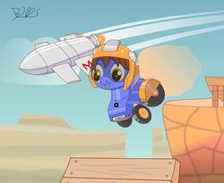 Size: 2527x2071 | Tagged: safe, artist:trackheadtherobopony, oc, oc only, oc:skymetry, oc:sunracer, original species, pony, robot, robot pony, wheelpone, jet, jumping, race, transforming robot
