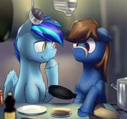 Size: 2695x2509 | Tagged: artist:toanderic, confused, cooking, earth pony, frying pan, giggling, kitchen, oc, oc:ad, oc only, oc:stratosphere, pegasus, pony, safe