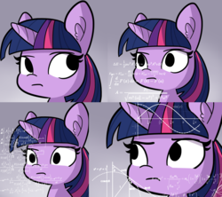 Size: 3749x3331 | Tagged: alicorn, artist:tjpones, chalkboard, confused, cropped, edit, fancy mathematics, hilarious in hindsight, image macro, math, math lady meme, meme, ponified meme, pony, reaction image, safe, solo, source needed, thinking, twilight sparkle, twilight sparkle (alicorn)