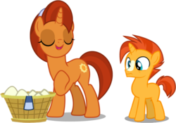 Size: 737x515 | Tagged: artist:dashiesparkle, artist:frownfactory, basket, clothes, colt, colt sunburst, editor:slayerbvc, female, laundry, male, mare, mother and son, raised hoof, safe, scarf, simple background, socks (coat marking), spoiler:s08e08, stellar flare, sunburst, surprised, the parent map, transparent background, uncommon bond, unicorn, wide eyes