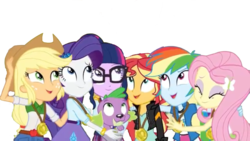 Size: 1334x750 | Tagged: applejack, artist:superbobiann, dog, editor:superbobiann, equestria girls, fluttershy, rainbow dash, rarity, safe, sci-twi, simple background, spike, spike the regular dog, sunset shimmer, transparent background, twilight sparkle