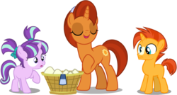 Size: 958x515 | Tagged: alternate version, artist:dashiesparkle, artist:frownfactory, artist:tardifice, basket, clothes, colt, colt sunburst, edit, editor:slayerbvc, female, filly, filly starlight, laundry, male, mare, mother and son, raised hoof, safe, scarf, simple background, socks (coat marking), starlight glimmer, stellar flare, sunburst, surprised, the cutie re-mark, the parent map, transparent background, uncommon bond, unicorn, vector, vector edit, wide eyes, younger