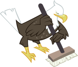 Size: 3014x2571 | Tagged: safe, artist:knight725, bald eagle, bird, eagle, may the best pet win, animal, broom, curling, simple background, solo, sports, transparent background, vector, wing hands, wing hold