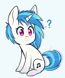 Size: 761x905 | Tagged: artist:higgly-chan, chibi, cute, daaaaaaaaaaaw, dj pon-3, female, mare, missing accessory, pony, question mark, safe, simple background, solo, unicorn, vinylbetes, vinyl scratch, white background