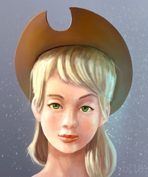 Size: 2261x2691 | Tagged: safe, artist:xbi, applejack, human, bust, female, hat, humanized, looking at you, portrait, raised eyebrow, realistic, solo, uncanny valley