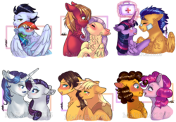 Size: 977x675 | Tagged: alicorn, applejack, artist:malinraf1615, bandage, big macintosh, blushing, boop, carajack, caramel, cheesepie, cheese sandwich, fancypants, female, flashlight, flash sentry, floppy ears, fluttermac, fluttershy, male, mane six, noseboop, pinkie pie, rainbow dash, raripants, rarity, safe, shipping, simple background, soarin', soarindash, straight, tongue out, transparent background, twilight sparkle, twilight sparkle (alicorn)