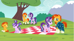 Size: 1199x670 | Tagged: cape, clothes, colt sunburst, cutie mark, female, filly, filly starlight, glasses, picnic blanket, safe, starlight glimmer, sunburst, younger