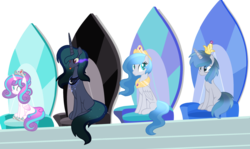 Size: 1024x611 | Tagged: safe, artist:leanne264, princess flurry heart, oc, oc:akyfall, oc:dark galaxy, oc:maximus, pegasus, pony, unicorn, alicorn thrones, base used, crown, female, jewelry, male, mare, next generation, offspring, older, parent:king sombra, parent:princess celestia, parent:princess luna, parent:royal guard, parents:guardlestia, parents:lumbra, regalia, simple background, stallion, tongue out, transparent background