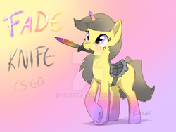 Size: 900x675 | Tagged: artist:furreon, bayonet, counter-strike: global offensive, deviantart watermark, gradient background, looking up, oc, oc only, pony, safe, signature, solo, text, unicorn, watermark