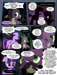 Size: 1275x1650 | Tagged: alicorn, artist:dsana, comic, comic:the shadow shard, dialogue, dragon, exclamation point, interrobang, patreon, patreon logo, pony, question mark, safe, spike, twilight sparkle, twilight sparkle (alicorn)
