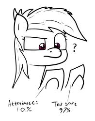 Size: 1183x1507 | Tagged: artist:moonatik, atg 2018, confused, female, mare, newbie artist training grounds, paper, question mark, rainbow dash, safe, solo, test, test paper