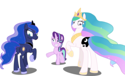 Size: 6724x4096 | Tagged: absurd res, a royal problem, artist:tralomine, crown, earth pony, earth pony celestia, earth pony luna, edit, editor:slayerbvc, female, grin, hoof shoes, jewelry, looking back, mare, nervous, nervous grin, now you fucked up, peytral, plot, pony, princess celestia, princess luna, race swap, raised hoof, regalia, royal sisters, safe, simple background, smiling, spell gone wrong, starlight glimmer, swapped cutie marks, transparent background, unicorn, vector, vector edit