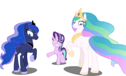 Size: 6724x4096 | Tagged: absurd res, a royal problem, artist:tralomine, blank flank, crown, earth pony, earth pony celestia, earth pony luna, edit, edited edit, editor:slayerbvc, female, grin, hoof shoes, jewelry, looking back, mare, nervous, nervous grin, now you fucked up, peytral, plot, pony, princess celestia, princess luna, race swap, raised hoof, regalia, royal sisters, safe, simple background, smiling, spell gone wrong, starlight glimmer, transparent background, unicorn, vector, vector edit
