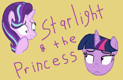Size: 1040x677 | Tagged: artist:logan jones, female, safe, simple background, starlight glimmer, steamed hams, the simpsons, title card, twilight sparkle, yellow background
