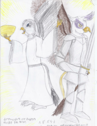 Size: 1700x2200 | Tagged: safe, artist:horsesplease, gabby, gilda, griffon, angel, armor, brahmi, clothes, conlang, cuneiform, dress, duo, hittite, robes, sarmelonid, sword, traditional art, vozonid, weapon