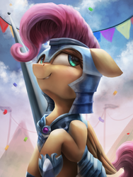 Size: 2250x3000 | Tagged: armor, artist:vanillaghosties, atg 2018, cloud, crystal empire, cute, female, fluttershy, high res, human shoulders, jousting, jousting outfit, mare, newbie artist training grounds, pegasus, pole, pony, safe, shyabetes, solo