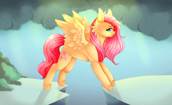 Size: 3500x2139 | Tagged: artist:twinkepaint, cliff, dragonshy, female, fluttershy, mountain, open mouth, pegasus, pony, safe, scene interpretation, solo