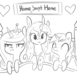 Size: 1280x1280 | Tagged: alicorn, artist:tjpones, bed, black and white, cadance is not amused, changeling, cute, cutealis, female, grayscale, love triangle, male, mare, monochrome, nervous, pony, princess cadance, queen chrysalis, safe, shining armor, stallion, sweat, sweating profusely, unamused, unicorn